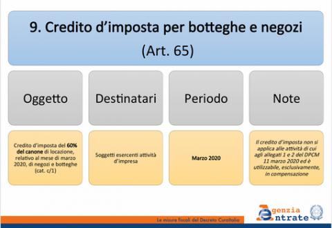 DECRETO CURA ITALIA: LOCAZIONE COMMERCIALE E CREDITO DI IMPOSTA